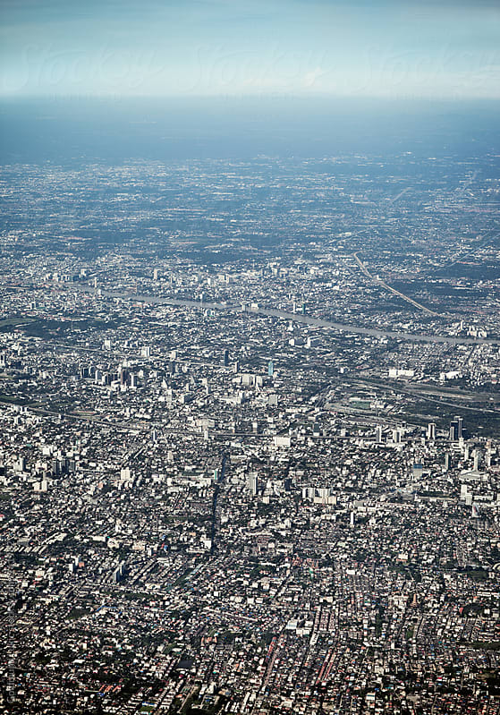 Aerial View of Bangkok, Thailand by Goldmund Lukic for Stocksy United