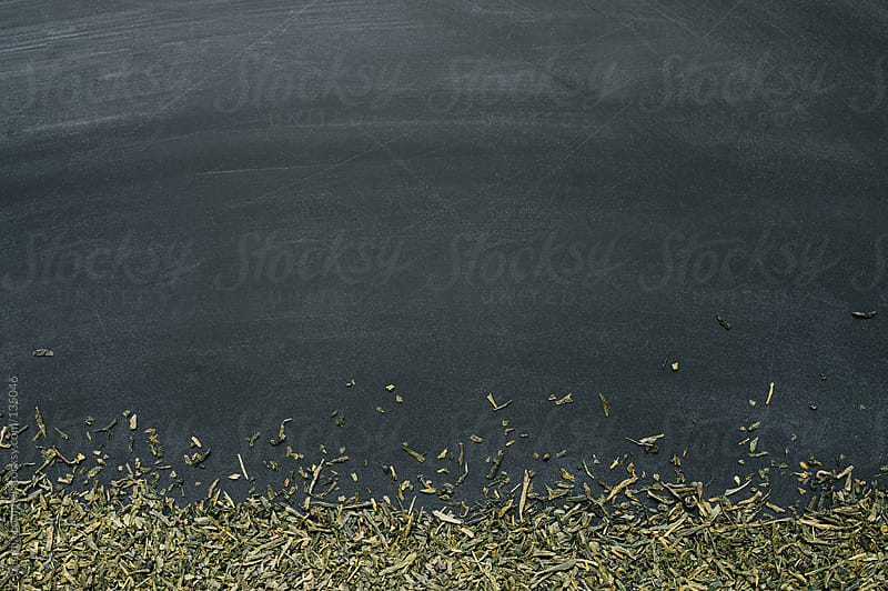 Loose Green Tea  on Chalkboard Background  by Claudia Lommel for Stocksy United