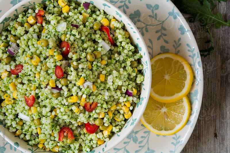Food: green couscous by Pixel Stories for Stocksy United