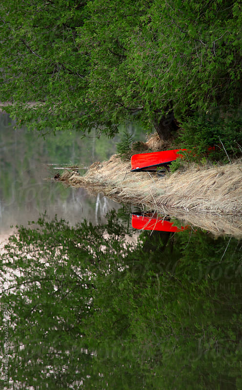 Red Canoe Reflection by David Jackson for Stocksy United