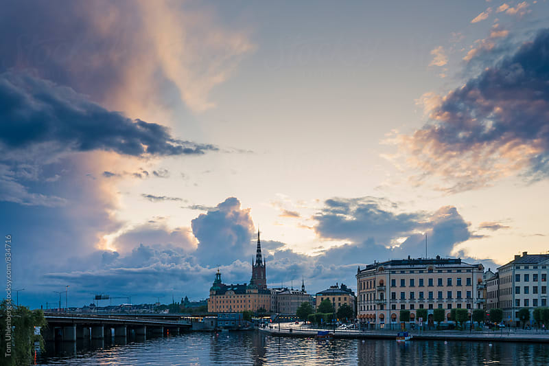 Stockholm, Sweden - City Skyline at Sunset by Tom Uhlenberg for Stocksy United
