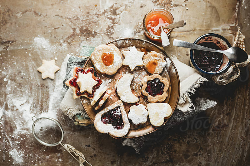 Homemade cookies with jam by Tatjana Ristanic for Stocksy United