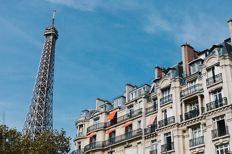 Paris Apartment Building with Eiffel Tower in Background by Zocky for Stocksy United
