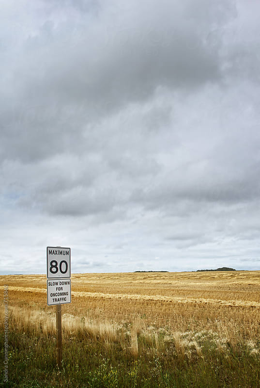 Speed sign by the side of the road by Sandra Cunningham for Stocksy United
