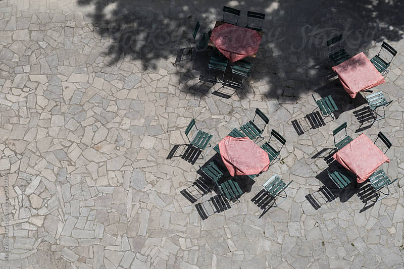 Outdoor seating area seen from above by Melanie Kintz for Stocksy United