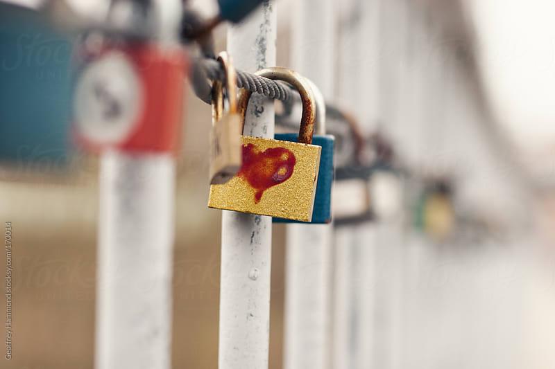 Love Locks on Railing by Geoffrey Hammond for Stocksy United