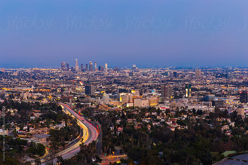 Los Angeles Skyline at Dusk by Jayme Burrows for Stocksy United
