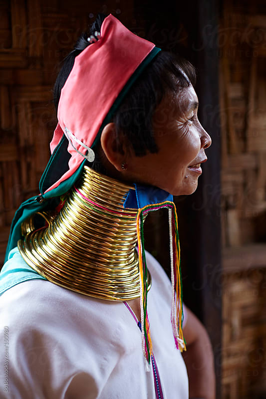 profile of one Long neck woman in Myanmar by Bo Bo for Stocksy United