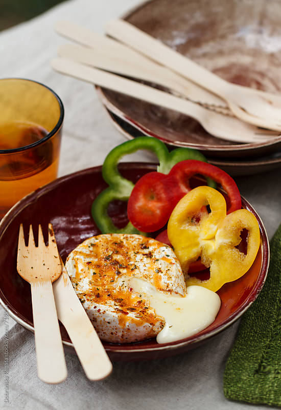 Grilled Camembert with bell peppers by Dobránska Renáta for Stocksy United