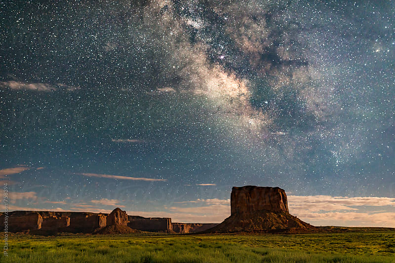 Milky Way Galaxy Over Mitchell Butte in Monument Valley Utah USA by JP Danko for Stocksy United