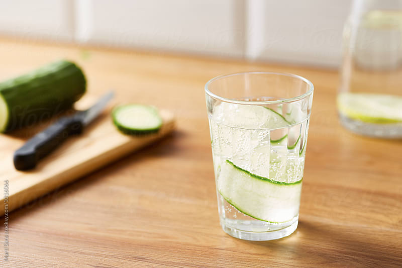 Homemade sparkling water with cucumber by Martí Sans for Stocksy United