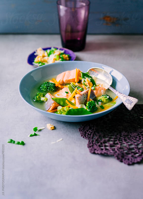 Salmon stew in a bowl by J.R. PHOTOGRAPHY for Stocksy United