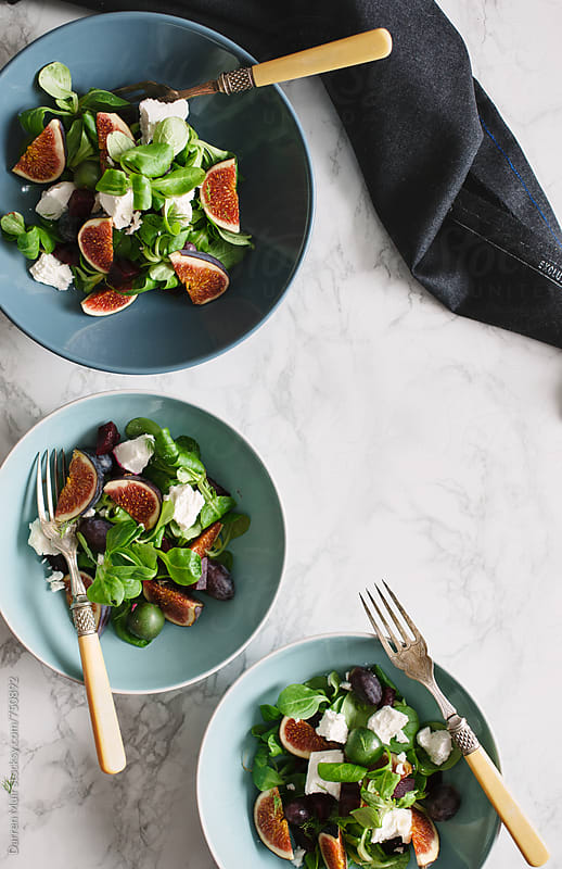Goats cheese,fig and beetroot salad. by Darren Muir for Stocksy United