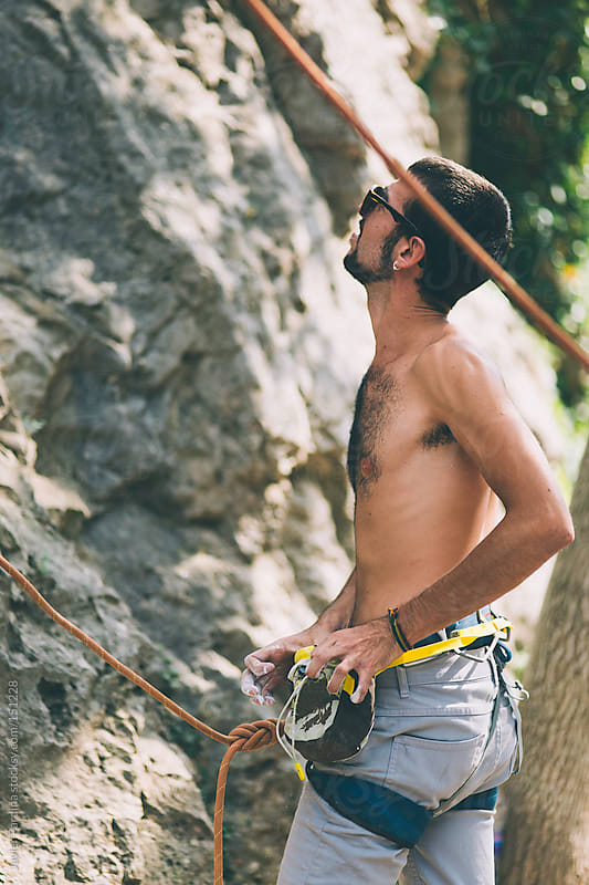 boy ready for climbing by Javier Pardina for Stocksy United