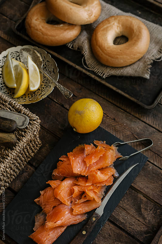 Smoked Salmon and Bagels by Darren Muir for Stocksy United