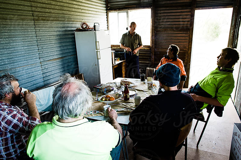 Shearers on a Break in a Shed by Gary Radler Photography for Stocksy United