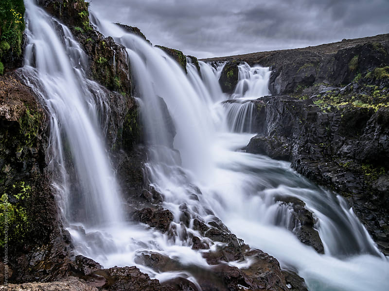 Many waterfalls of Kolugljufur in Iceland by Andreas Wonisch for Stocksy United