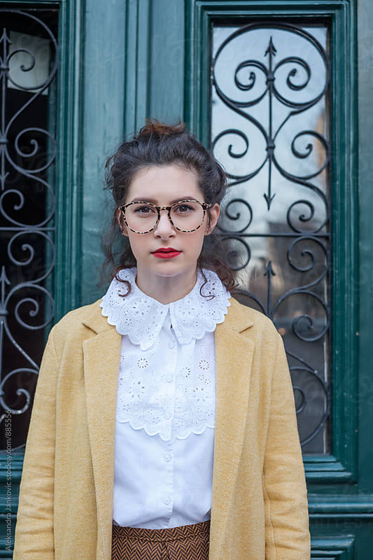 Portrait of a Stylish Brunette Woman Wearing Glasses by Aleksandra Jankovic for Stocksy United
