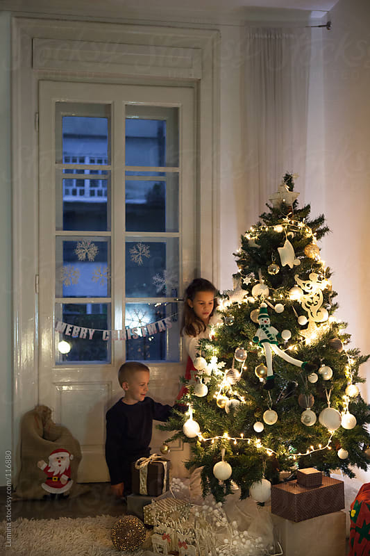 Brother and Sister Decorating the Christmas Tree by Lumina for Stocksy United