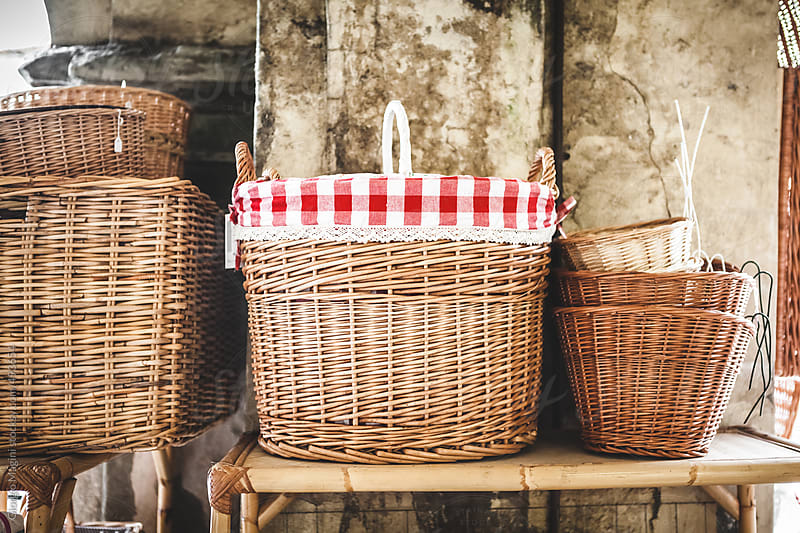 Wicker Baskets in a Traditional Marketplace by Giorgio Magini for Stocksy United