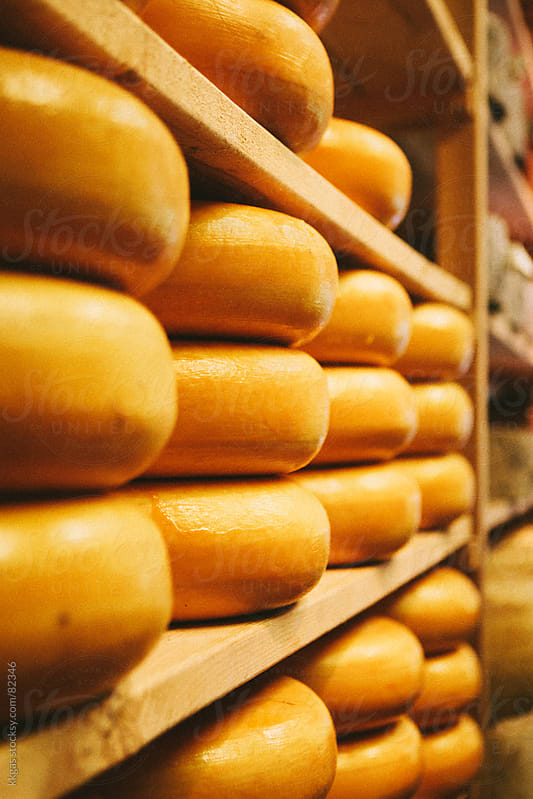 Cheeses stacked on a shelf in a dairy. by kkgas for Stocksy United