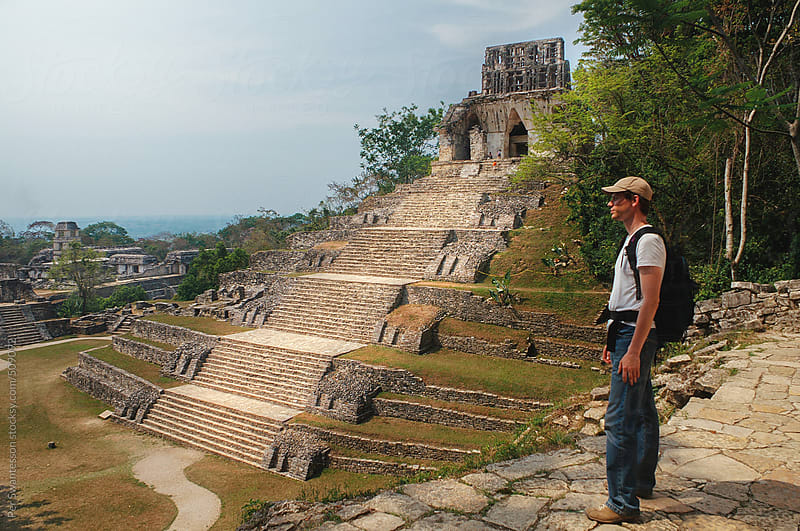 Tourist visiting Palenque pyramid in Mexico by Per Swantesson for Stocksy United