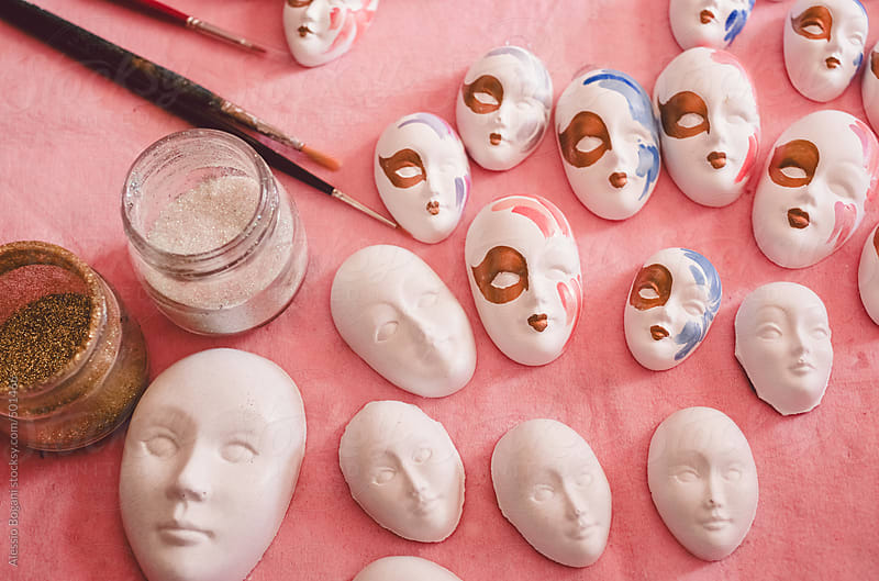 Venetian masks crafting by Alessio Bogani for Stocksy United