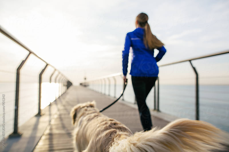 Back view of a woman running with her dog on a bridge at sunrise. by BONNINSTUDIO for Stocksy United