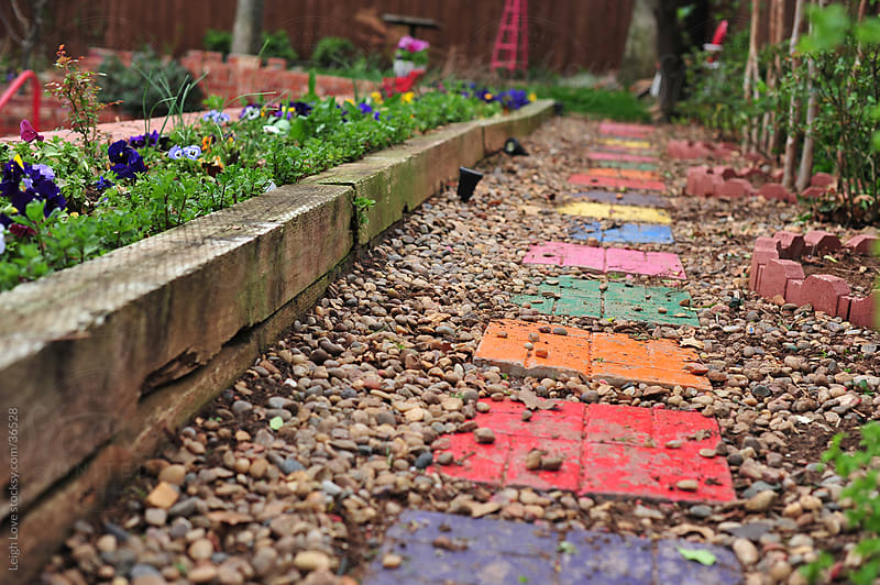A Colorful Stepping Stone Garden Pathwy by Leigh Love for Stocksy United