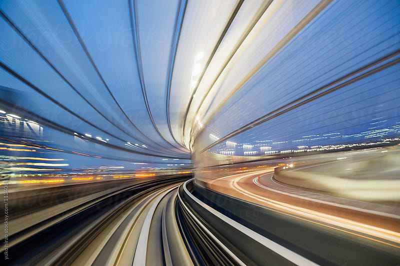 Speed and motion from fast train in tunnel by yuko hirao for Stocksy United
