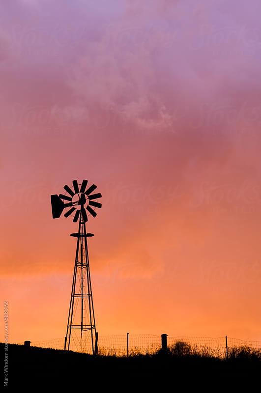 Palouse windmill at sunset by Mark Windom for Stocksy United