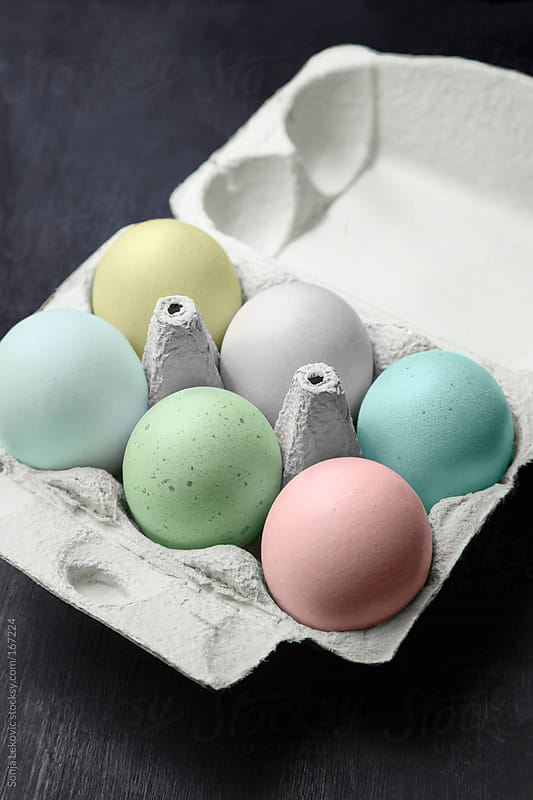 pastel colored easter eggs in a box by Sonja Lekovic for Stocksy United