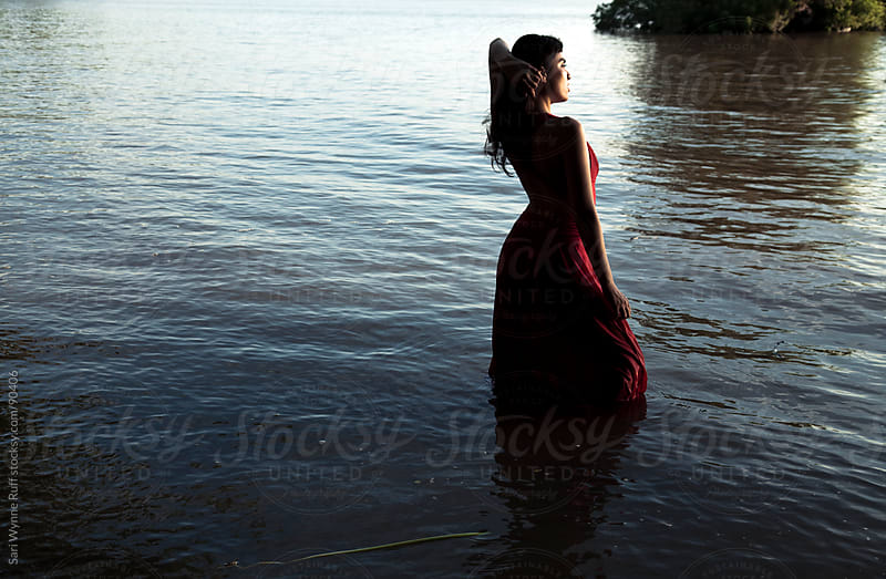 Lady in the Lake : Red Dress by Sari Wynne Ruff for Stocksy United