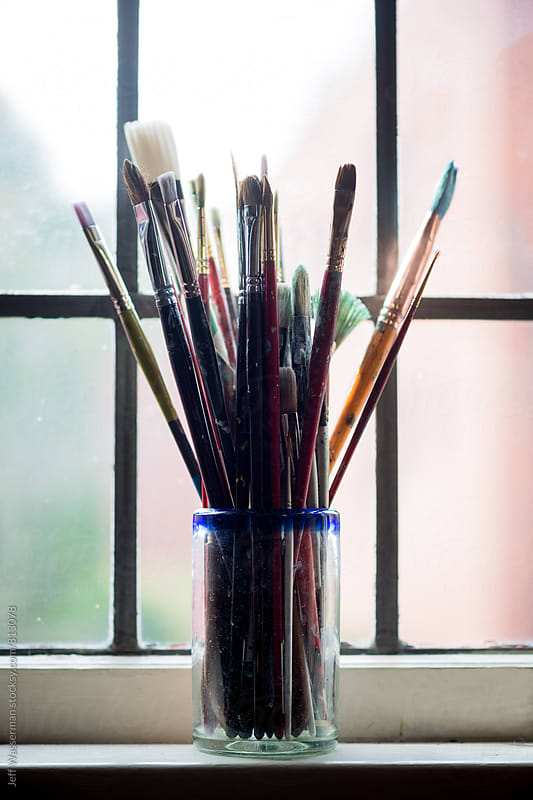 Artist's Paintbrushes on Window Sill by Studio Six for Stocksy United