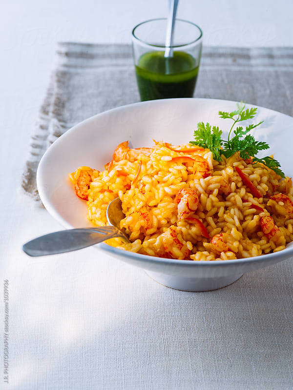 Risotto with crayfish tails by J.R. PHOTOGRAPHY for Stocksy United