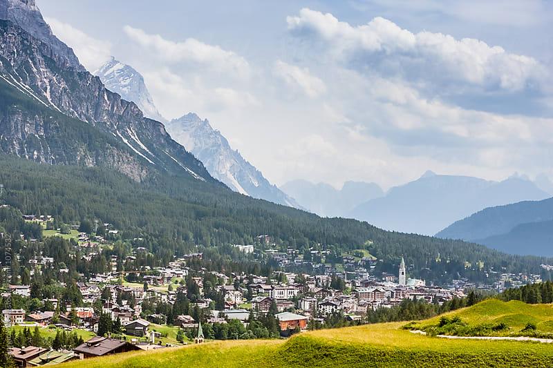Cortina d'Ampezzo Town in Italian Dolomites Mountains by Giorgio Magini for Stocksy United