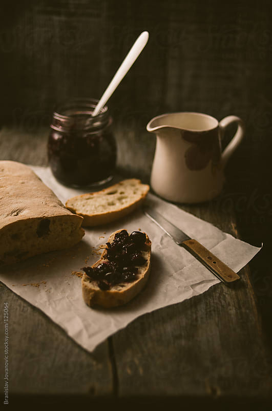 Bread With Jam and Milk on the Table by Brkati Krokodil for Stocksy United