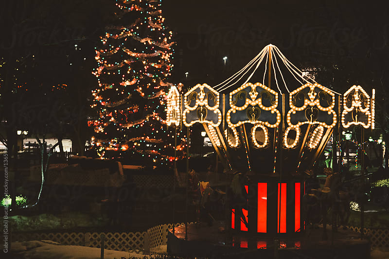 Christmas Tree and Carousel At Night by Gabriel (Gabi) Bucataru for Stocksy United