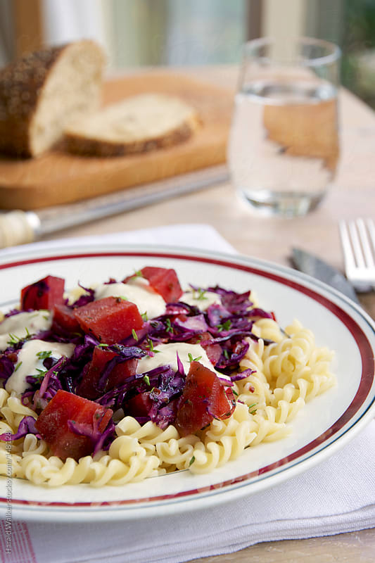 Beets and Red Cabbage on Pasta by Harald Walker for Stocksy United