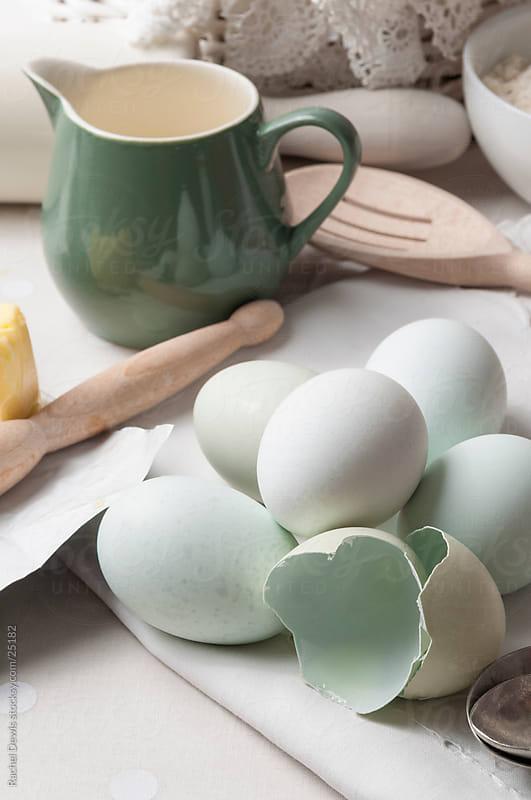 Basic baking ingredients. by Rachel Dewis for Stocksy United