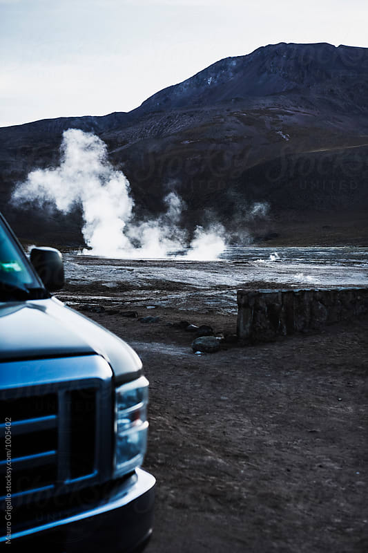 Tour at El Tatio, a geyser field located in the North of Chile. by Mauro Grigollo for Stocksy United