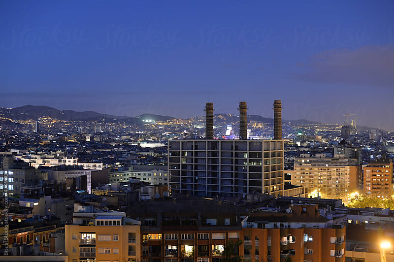 Views of Barcelona at night by Bisual Studio for Stocksy United