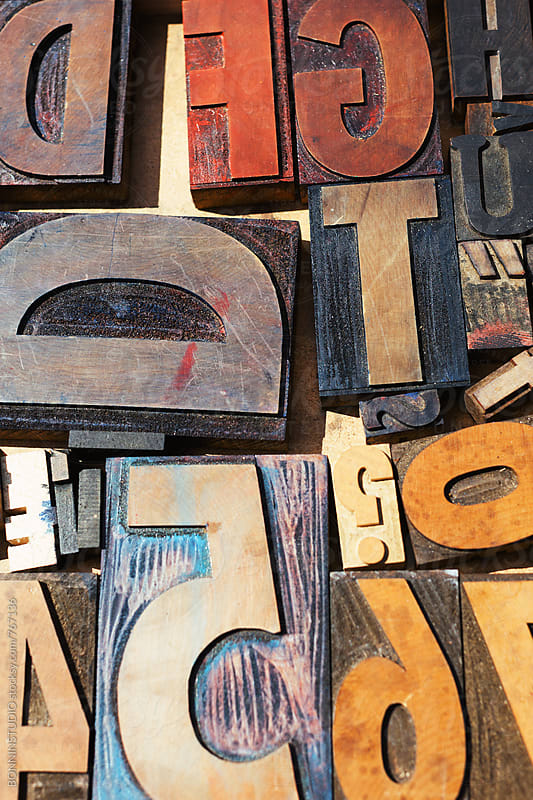 Closeup of vintage letters for sold in a marketplace. by BONNINSTUDIO for Stocksy United