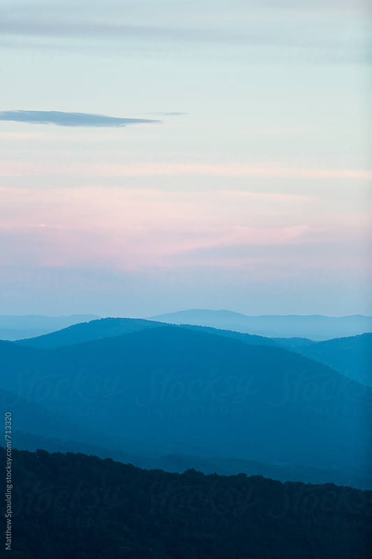 Blue ridge mountains landscape at sunset by Matthew Spaulding for Stocksy United
