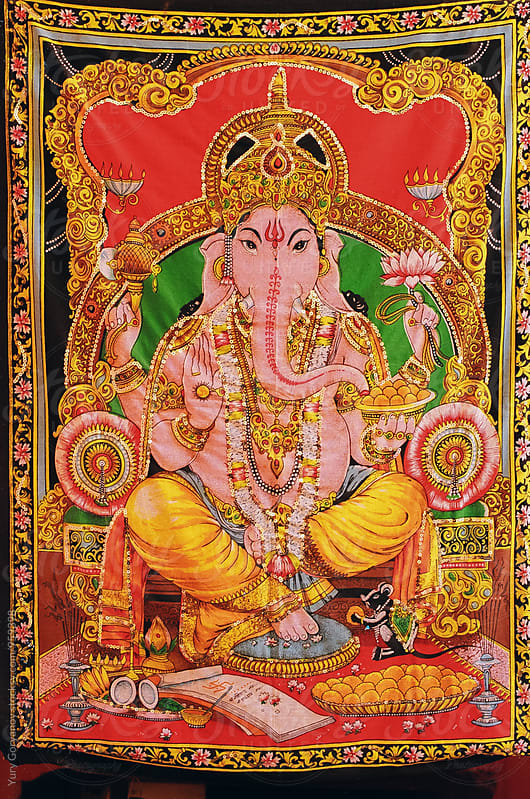 Textile fabric with the image of God Ganesha by Юрий Горяной for Stocksy United