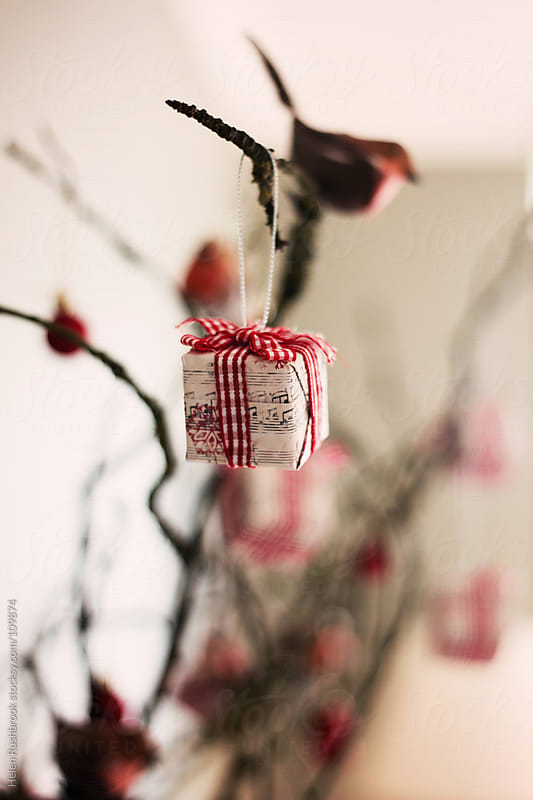A wrapped parcel on a rustic Christmas tree by Helen Rushbrook for Stocksy United