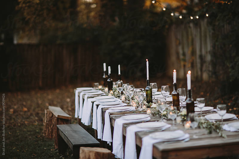 Candlelit Outdoor Dinner by Brad & Jen for Stocksy United
