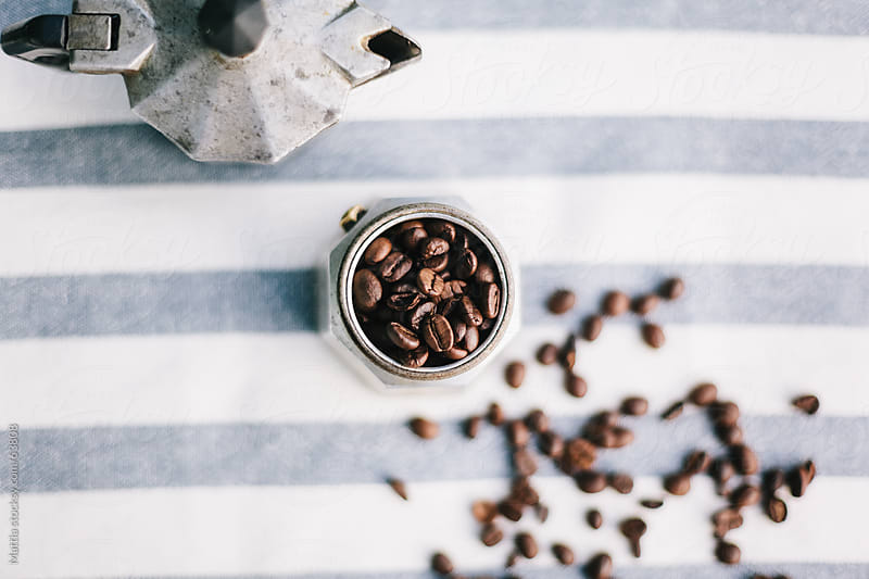 Still life with coffee beans and Moka by HEX. for Stocksy United