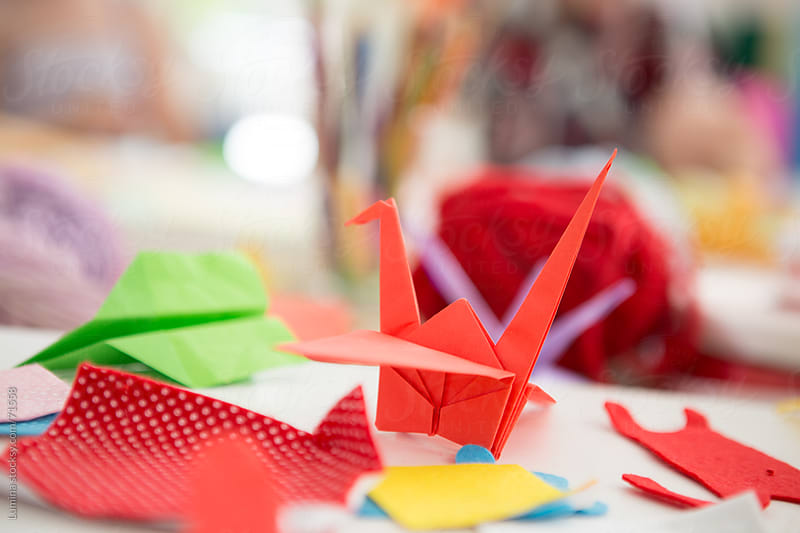 Red Origami Bird by Lumina for Stocksy United