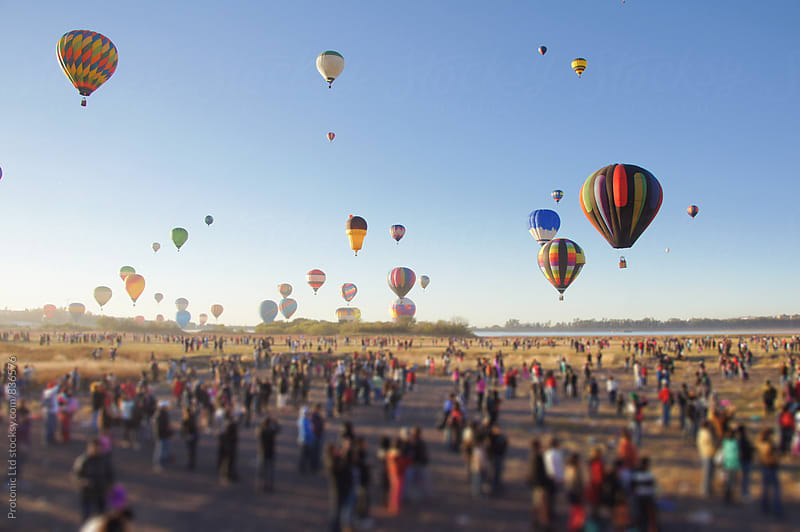 Hot air balloons rising by Per Swantesson for Stocksy United